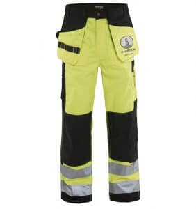 Custom Hi-Vis Safety Pants - 1633 - Hi-Vis - Work - Pants - Yellow - Front - WorkWearToronto.com - Workwear-Toronto - Your Logo - Heat Transfer - Corporate Apparel
