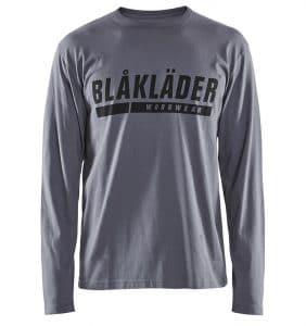 Custom Shirts - Polos - T-Shirts - 3557 - T-shirt Long Sleeves w Print - Grey - Front - WorkWearToronto.com - Workwear Toronto - Your Logo - Heat Transfer