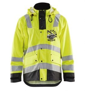 Custom Hi-Vis/Hi-Viz Jackets - 4312 - Hi Vis Rain Jacket - Yellow Black - Front - WorkWearToronto.com - Workwear Toronto - Your Logo - Safety Wear - Heat Transfer - Screen Printing - Embroidery