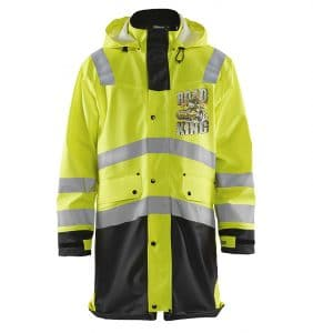 Custom Hi-Vis/Hi-Viz Jackets - 4316 - Hi Vis Rain Coat - Yellow Black - Front - WorkWearToronto.com - Workwear Toronto - Your Logo - Safety Wear - Heat Transfer - Screen Printing