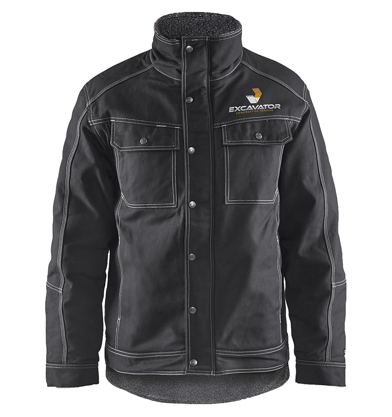 Custom Branded Jackets with your logo - 4816 - Toughguy Pile Lined Jacket - Black - Front - w logo - WorkwearToronto.com-workwear-toronto - Corporate Apparel - Promotional Products - Heat Transfer - Screen Printing - Embroidery