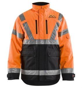 Custom Hi-Vis/Hi-Viz Jackets - 4927 - Hi Vis Winter Jacket - Orange Black - Front - WorkWearToronto.com - Workwear Toronto - Your Logo - Safety Wear - Heat Transfer - Screen Printing - Embroidery