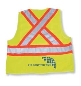 Custom Hi-Viz Safety Jackets - A2Z Construction - Safety Vest - Yellow - WorkWearToronto.com - Workwear Toronto - Your Logo - Corporate Apparel - Heat Transfer - Screen Printing