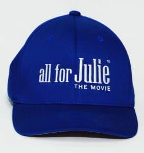 Custom Headwear - All for Julie - Embroidery - Blue cap - workwear Toronto - WorkWearToronto.com - Your Logo - Promotional Item - Baseball Hat