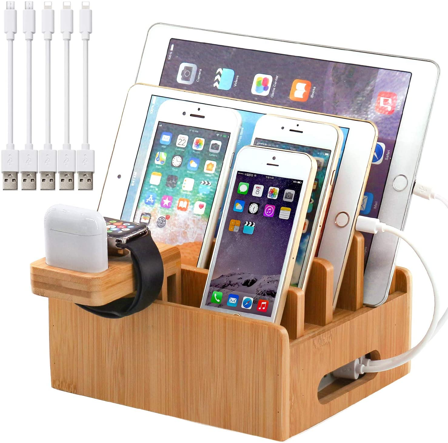 Bamboo Wood Charging Station - WorkwearToronto.com - Christmas Gift Ideas for 2020 - Corporate Gifts - Amazon