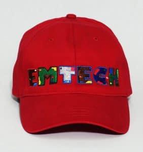 Custom Headwear - Emtech - Embroidery - Red Cap - Workwear Toronto - WorkWearToronto.com - Your Logo - Custom Embroidery in GTA - Promotional Products