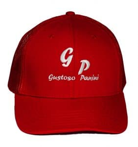 Custom Headwear - Gustoso Panini - Embroidery - Red Cap - Workwear Toronto - WorkWearToronto.com - Your Logo - Corporate Apparel - Baseball Cap - Promotional Item