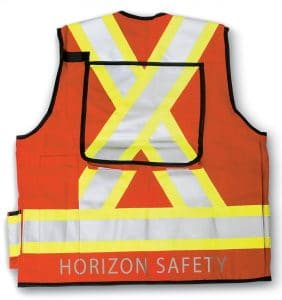 Custom Hi-Viz Safety Vests - Horizon Safety - Safety Vest - Orange - Back - WorkWearToronto.com - Workwear Toronto - Your Logo - Corporate Apparel - Heat Transfer - Screen Printing