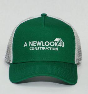 Custom Headwear - A New Look 4 U Construction - Embroidery - Green Cap - Workwear Toronto - WorkWearToronto.com - Your Logo - Corporate Apparel - Baseball Hat