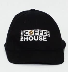 Custom Headwear - Prime Coffee House - Embroidery - Black Cap - Workwear Toronto - WorkWearToronto.com - Your Logo - Promotional Item - Corporate Apparel in Etobicoke