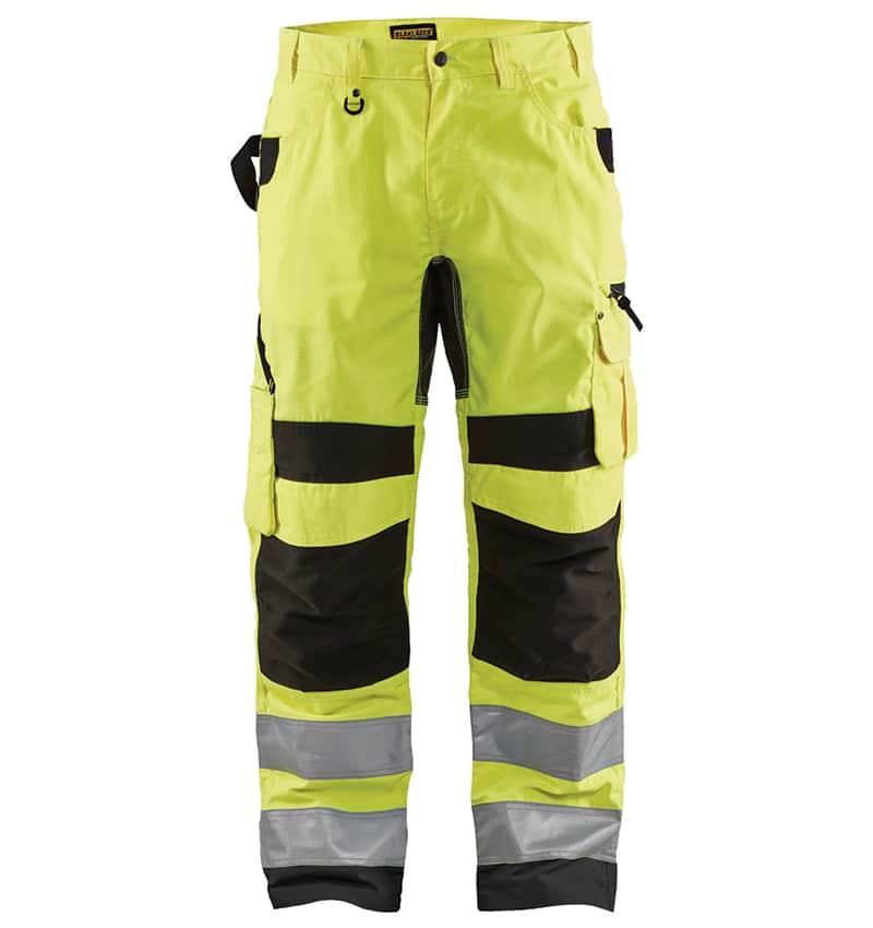 Custom Hi-Vis Work Pants - WTBL1699 Yellow Black front - Your Logo - Safety Pants - Workwear Toronto - Heat Transfer - Embroidery