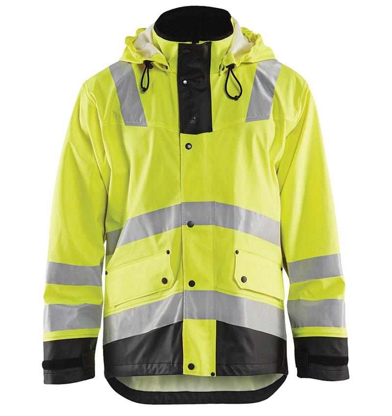 Custom - High Vis Rain Jacket - Your logo - Workwear Toronto - Heat Transfer - Embroidery - Screen Printing - Corporate Apparel - WTBL4312 - Yellow Black - Front