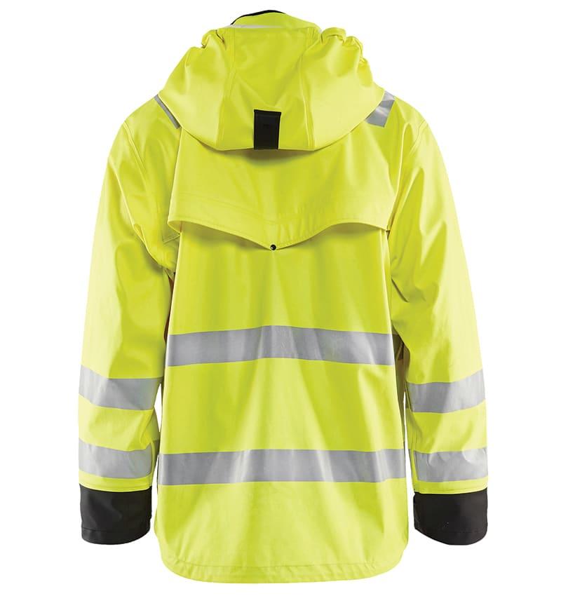 Custom - High Vis Rain Jacket - Your logo - Workwear Toronto - Heat Transfer - Embroidery - Screen Printing - Corporate Apparel - WTBL4312 - Yellow Black - Back