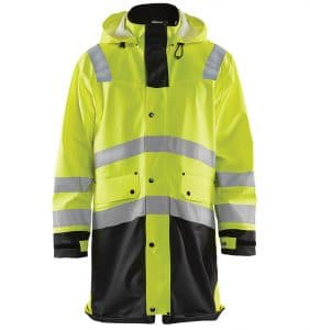 Custom Branded Hi-Vis Rain Coat - WTBL4316 Yellow Black - Front - Workwear Toronto - Screen Printing - Embroidery - Heat Transfer - Corporate Apparel