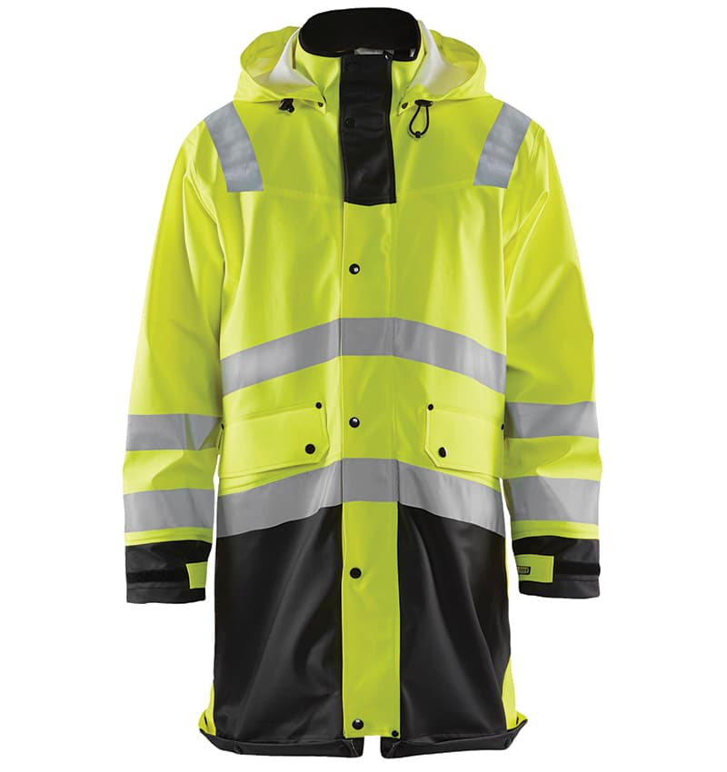 Custom Branded Hi-Vis Rain Coat - WTBL4316 Yellow Black - Front - Workwear Toronto - Screen Printing - Embroidery - Heat Transfer - Corporate Apparel