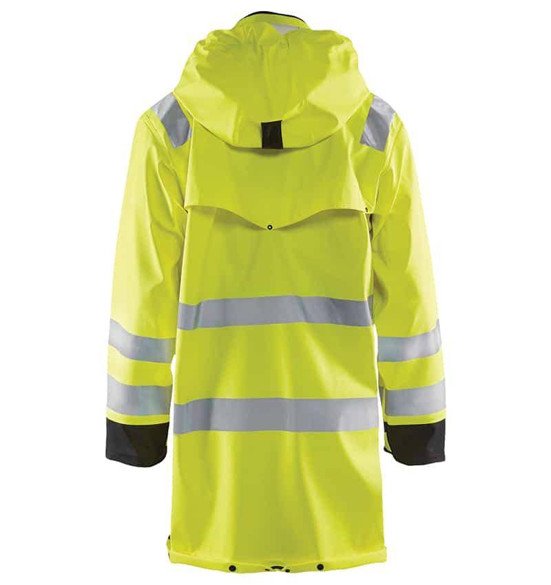 Custom Branded Hi-Vis Rain Coat - WTBL4316 Yellow Black - Back - Workwear Toronto - Screen Printing - Embroidery - Heat Transfer - Corporate Apparel