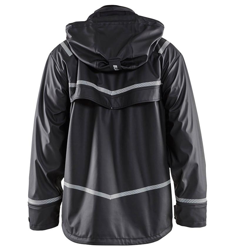 High Vis - Custom branded - Hooded Rain Jacket - Workwear Toronto - Screen Printing- Embroidery - Heat Transfer - Corporate Apparel - WTBL4317 Yellow Black Back