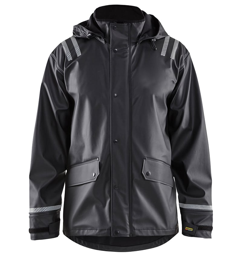 High Vis - Custom branded - Hooded Rain Jacket - Workwear Toronto - Screen Printing- Embroidery - Heat Transfer - Corporate Apparel - WTBL4317 Yellow Black Front