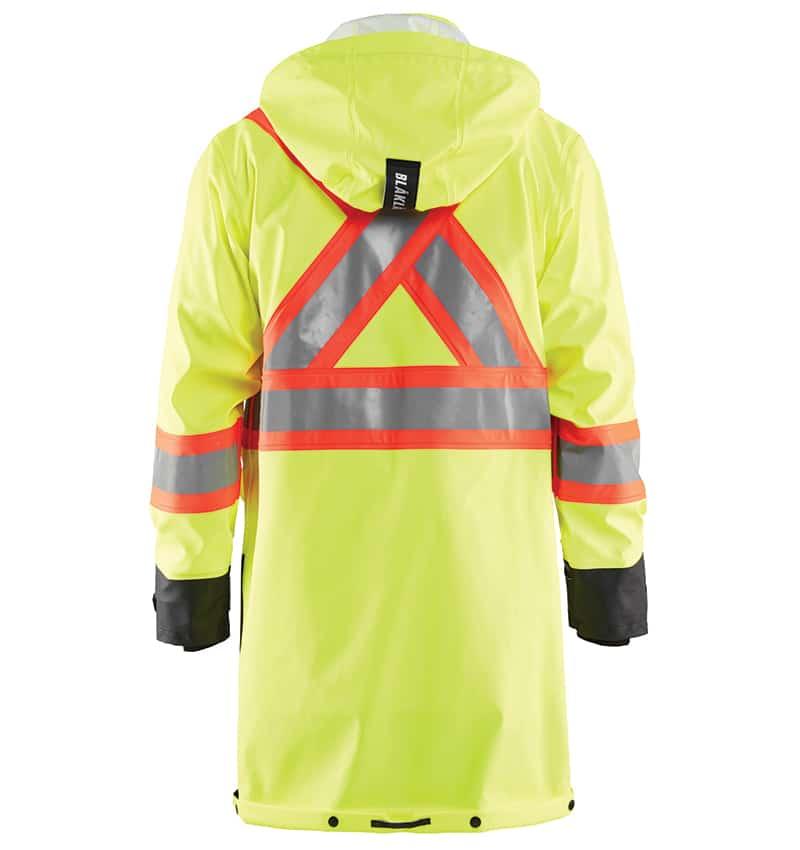 Custom decorated hi-vis rain coat - Workwear Toronto - Corporate apparel - Heal Transfer - Screen Printing - Embroidery - WTBL4318 Yellow Black Back