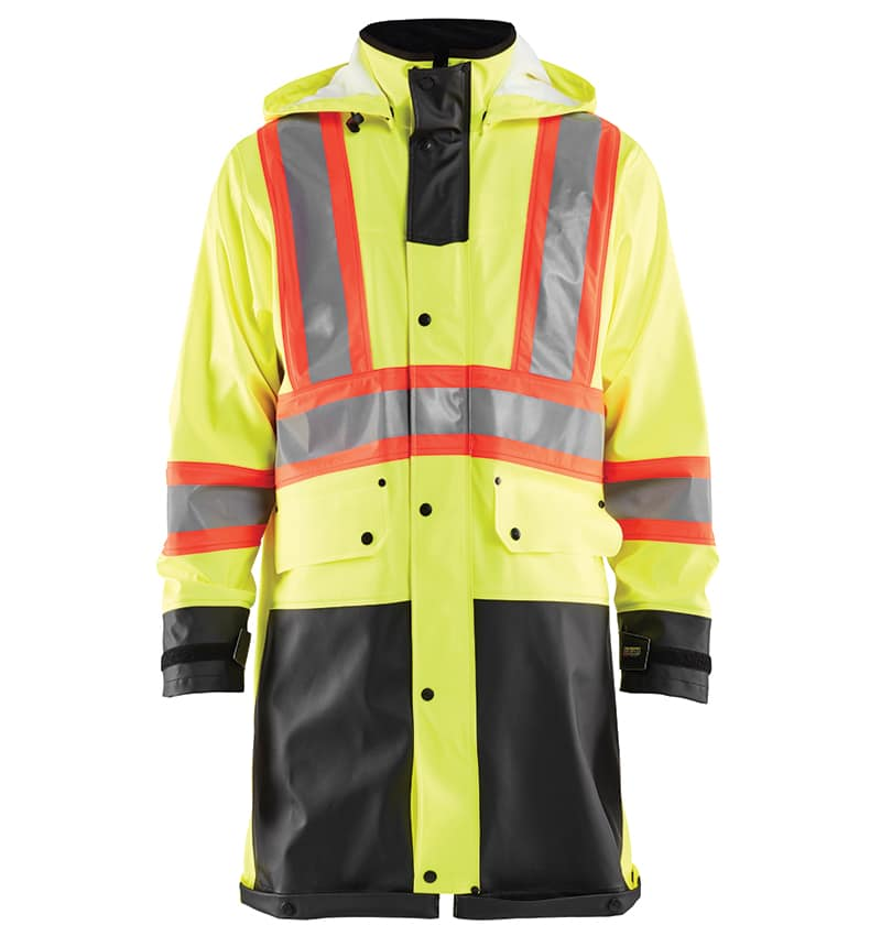 Custom decorated hi-vis rain coat - Workwear Toronto - Corporate apparel - Heal Transfer - Screen Printing - Embroidery - WTBL4318 Yellow Black front