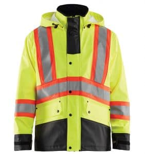 Custom Branded Hi-vis Rain Jacket - Workwear Toronto - Corporate Apparel - Screen Printing - Heat Transfer - Embroidery - Etobicoke - WTBL4319 Yellow Black front