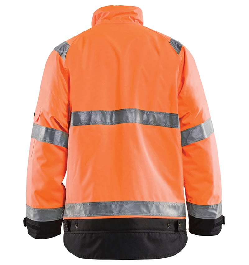 Hi-vis Winter jacket branded with your logo - Corporate apparel in GTA - Promotional products - Heat Transfer - Screen Printing - Embroidery - WTBL4927 Orange Black Back