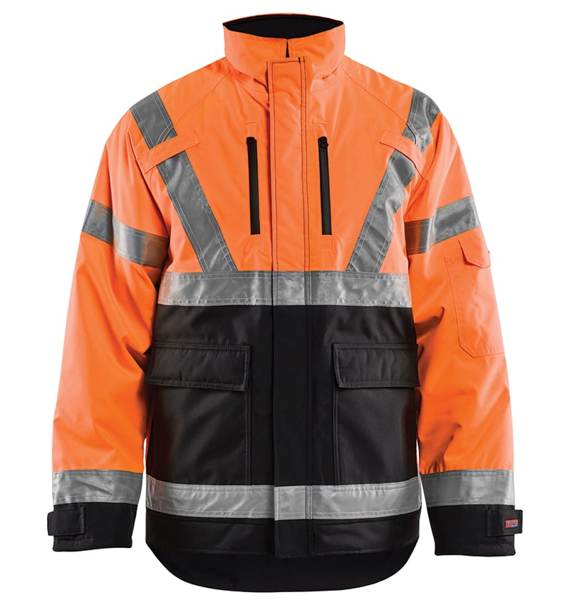 Hi-vis Winter jacket branded with your logo - Corporate apparel in GTA - Promotional products - Heat Transfer - Screen Printing - Embroidery - WTBL4927 Orange Black Front