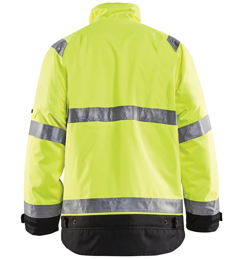 Hi-vis Winter jacket branded with your logo - Corporate apparel in GTA - Promotional products - Heat Transfer - Screen Printing - Embroidery - WTBL4927 Yellow Black Back