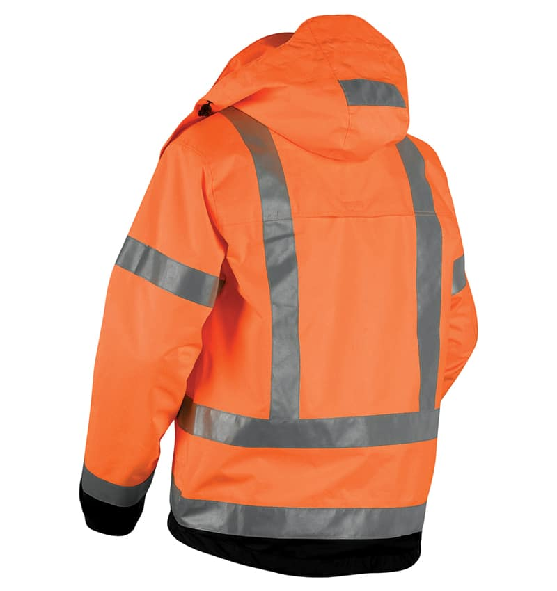 Hi-Vis Shell Jacket - Promotional Products - Corporate Apparel - Safety Jacket - Heat Transfer - WTBL4937 Orange black Back