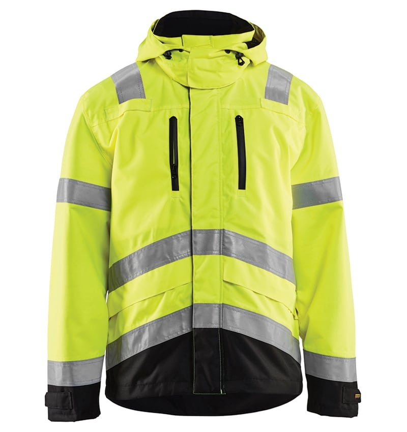 Hi-Vis Shell Jacket - Promotional Products - Corporate Apparel - Safety Jacket - Heat Transfer - WTBL4937 Yellow black front