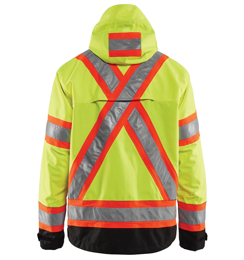 Hi-Vis Safety Jacket With your logo - Corporate Apparel - Promotional Products - Heat Transfer - Screen Printing & Embroidery WTBL4938 Yellow black Back