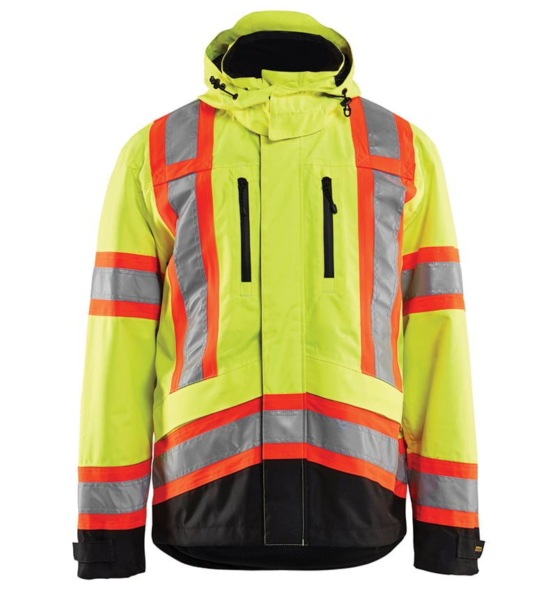 Hi-Vis Safety Jacket With your logo - Corporate Apparel - Promotional Products - Heat Transfer - Screen Printing & Embroidery WTBL4938 Yellow black front