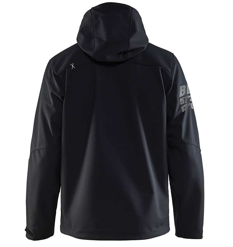 Pro Softshell Jacket With your Logo - Corporate Apparel in GTA - Promotional Products - Heat transfer - Screen Printing - Embroidery WTBL4939 Black Silver Back