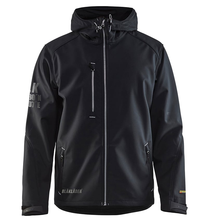 Pro Softshell Jacket With your Logo - Corporate Apparel in GTA - Promotional Products - Heat transfer - Screen Printing - Embroidery WTBL4939 Black Silver Front