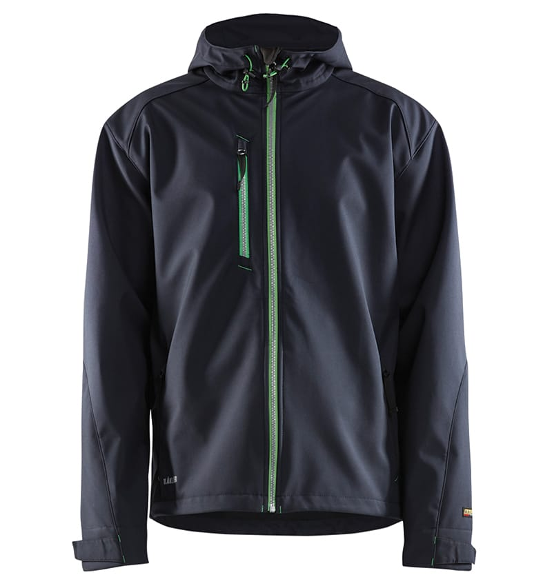 Pro Softshell Jacket With your Logo - Corporate Apparel in GTA - Promotional Products - Heat transfer - Screen Printing - Embroidery WTBL4939 Dark navy and green front