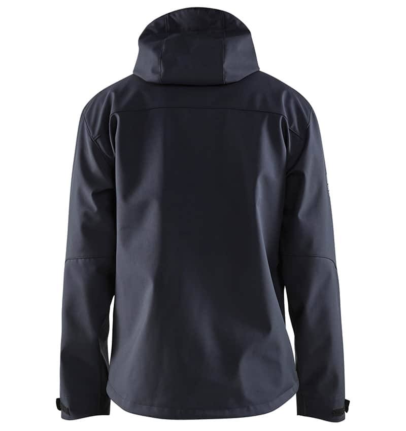 Pro Softshell Jacket With your Logo - Corporate Apparel in GTA - Promotional Products - Heat transfer - Screen Printing - Embroidery WTBL4939 Dark Navy & Red - Back