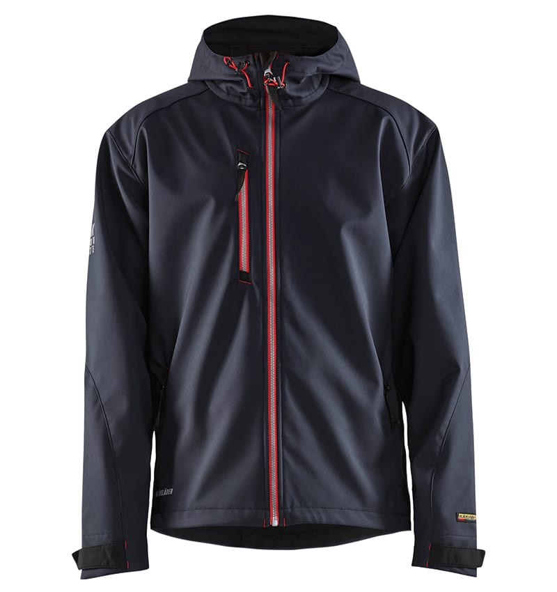 Pro Softshell Jacket With your Logo - Corporate Apparel in GTA - Promotional Products - Heat transfer - Screen Printing - Embroidery WTBL4939 Dark Navy & Red - Front