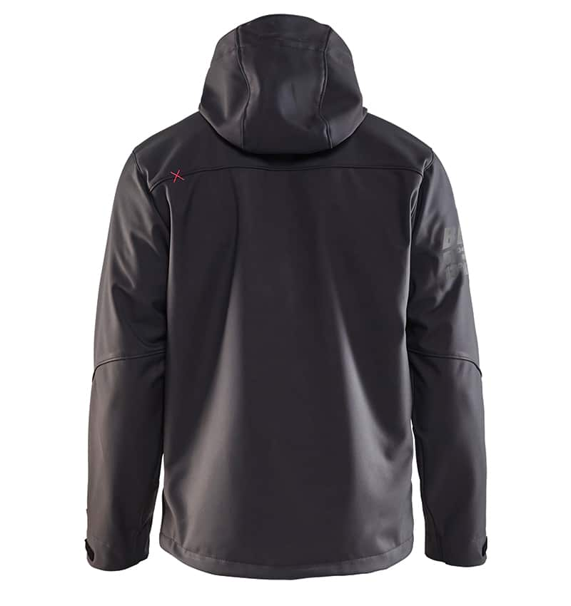 Pro Softshell Jacket With your Logo - Corporate Apparel in GTA - Promotional Products - Heat transfer - Screen Printing - Embroidery WTBL4939 Dark grey & Red - Back