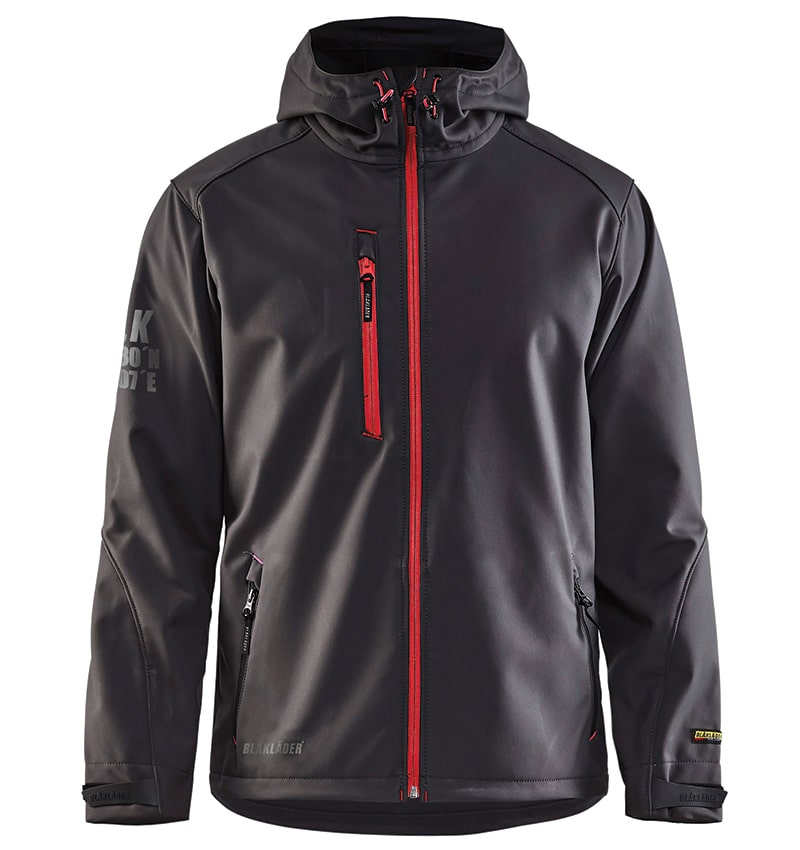 Pro Softshell Jacket With your Logo - Corporate Apparel in GTA - Promotional Products - Heat transfer - Screen Printing - Embroidery WTBL4939 Dark grey & Red - Front