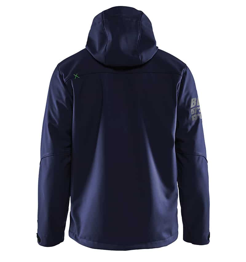 Pro Softshell Jacket With your Logo - Corporate Apparel in GTA - Promotional Products - Heat transfer - Screen Printing - Embroidery WTBL4939 Navy Blue & Green - Back
