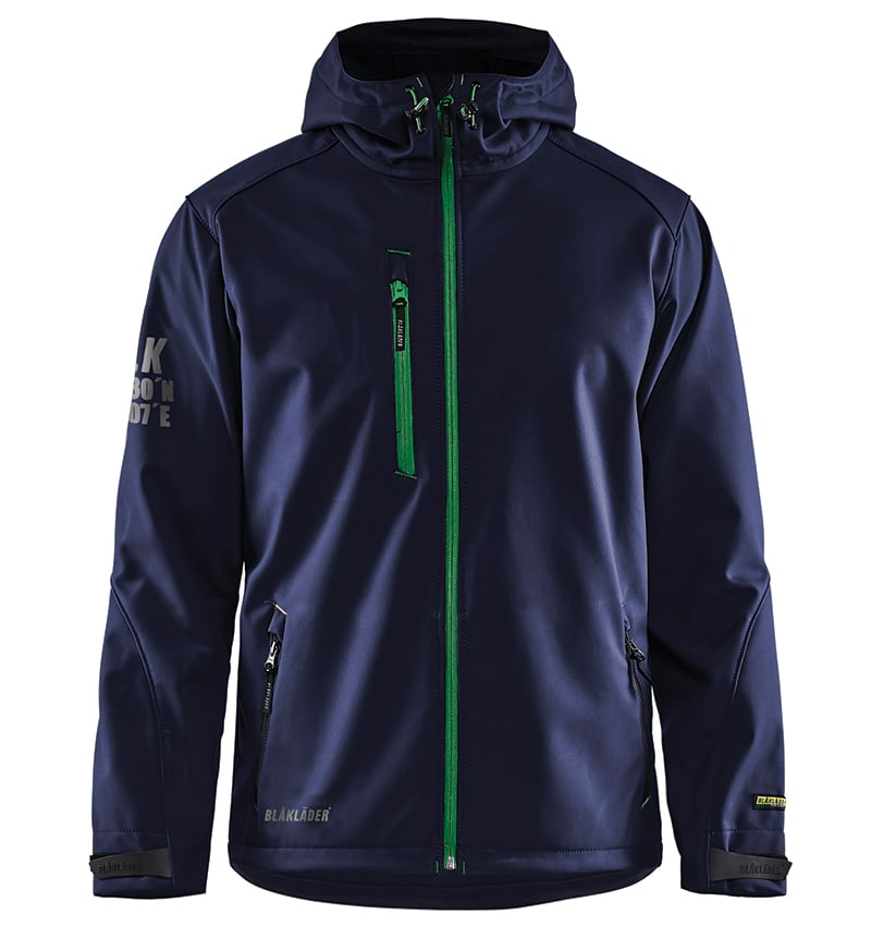 Pro Softshell Jacket With your Logo - Corporate Apparel in GTA - Promotional Products - Heat transfer - Screen Printing - Embroidery WTBL4939 Navy Blue & Green - Front