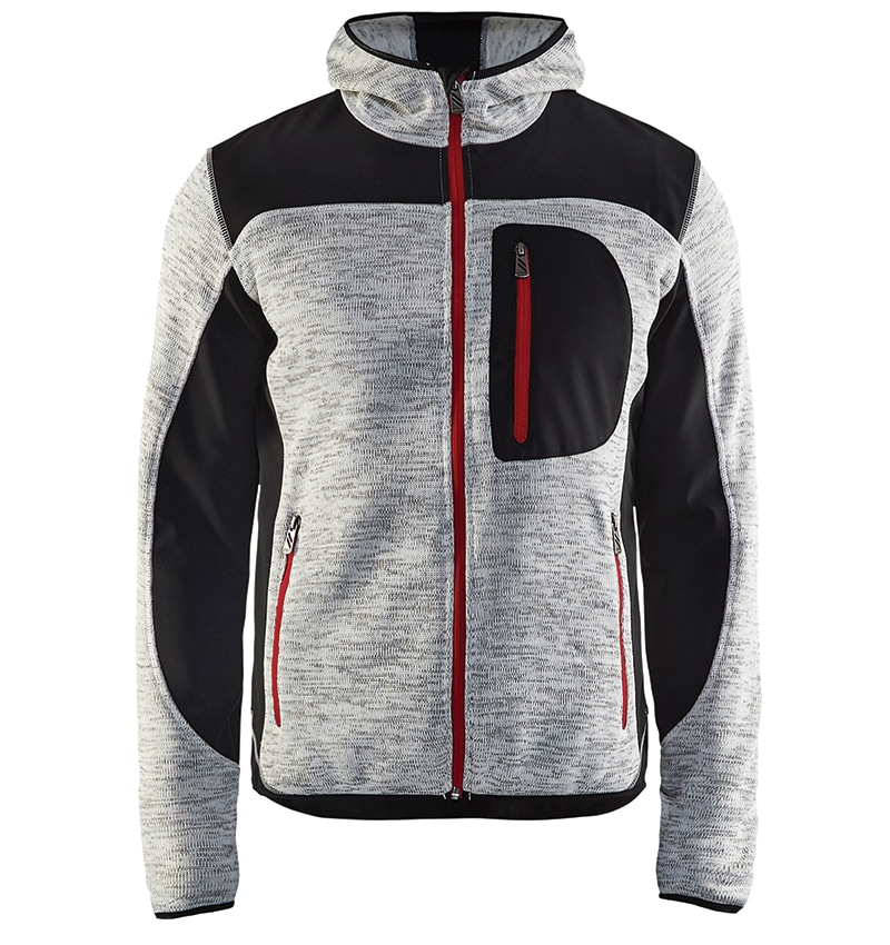 Custom Knitted jacket for men with your logo - Blacklader - Heat Transfer - Screen Printing - Embroidery - Promotional Products - Corporate Apparel in GTA WTBL4940 Grey Melange and Black front