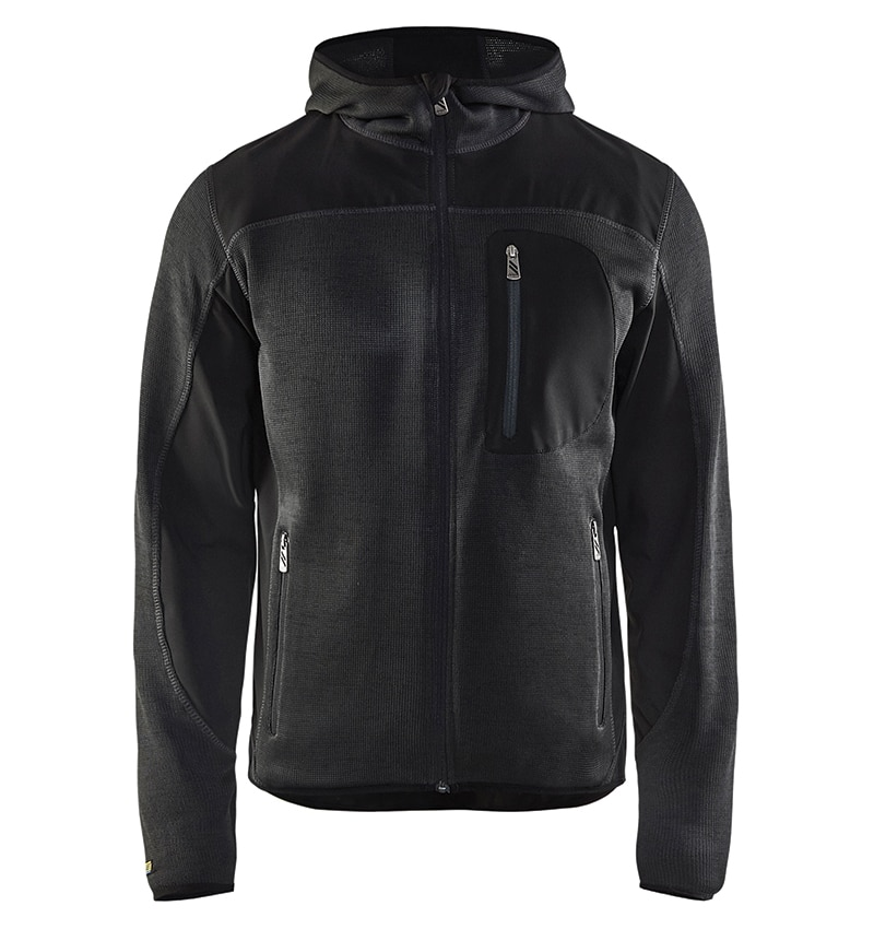 Custom Knitted jacket for men with your logo - Blacklader - Heat Transfer - Screen Printing - Embroidery - Promotional Products - Corporate Apparel in GTA WTBL4940 Dark Grey and black front