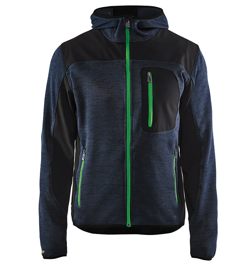 Custom Knitted jacket for men with your logo - Blacklader - Heat Transfer - Screen Printing - Embroidery - Promotional Products - Corporate Apparel in GTA WTBL4940 Dark Grey and Green front