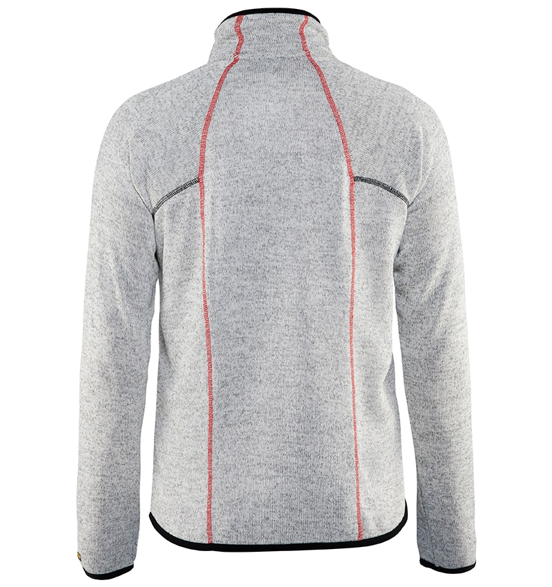 Custom Logo Knitted Jacket - WTBL4965 Grey Melange Red back - Workwear Toronto - Corporate Apparel - Heat Transfer - Screen Printing - Embroidery - Promotional Products - Etobicoke