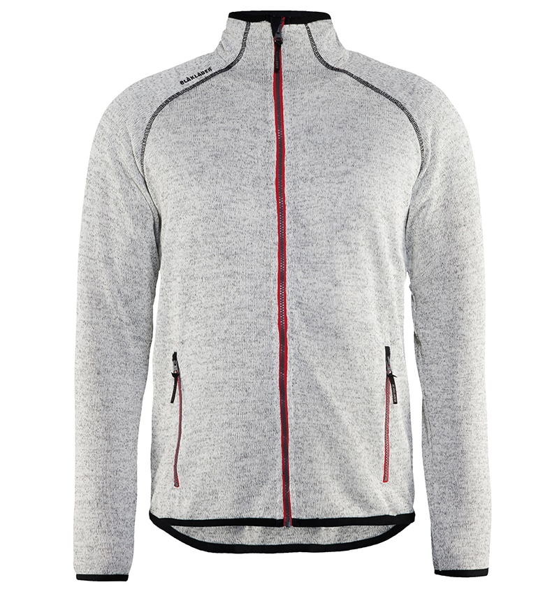 Custom Logo Knitted Jacket - WTBL4965 Grey Melange Red front - Workwear Toronto - Corporate Apparel - Heat Transfer - Screen Printing - Embroidery - Promotional Products - Etobicoke