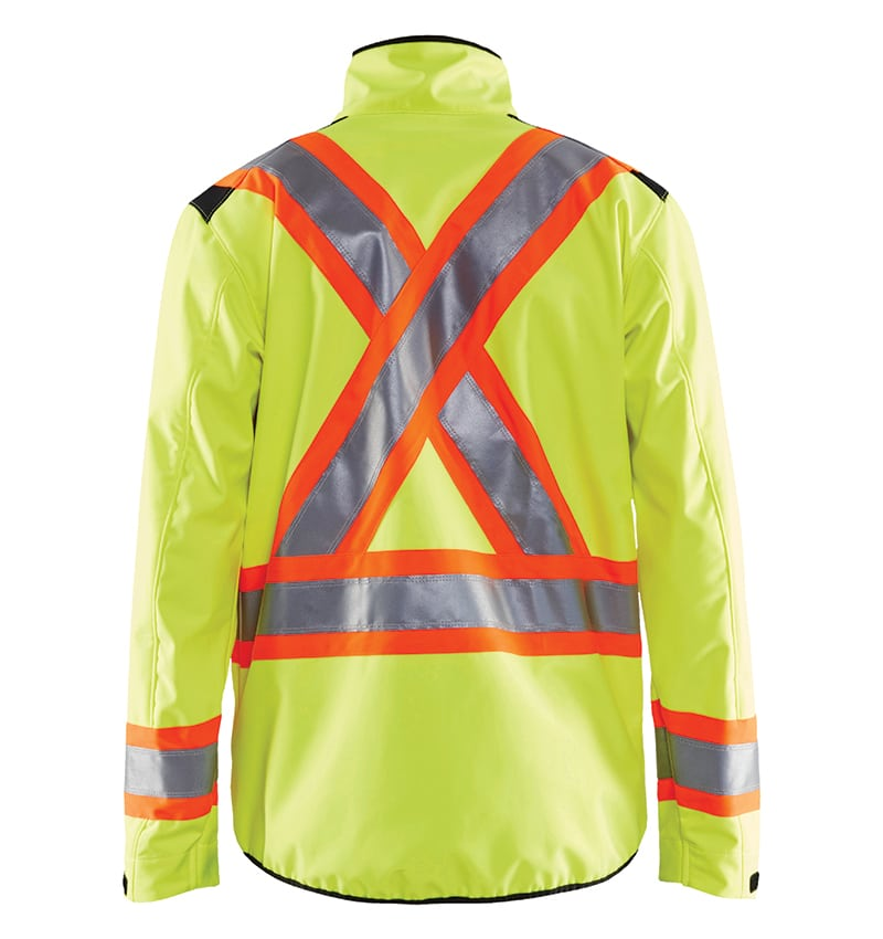 Hi-Vis Softshell jacket With your logo - Corporate Apparel - Promotional Products - Heat Transfer - Screen Printing - Safety Jacket - WTBL4975 Yellow Back