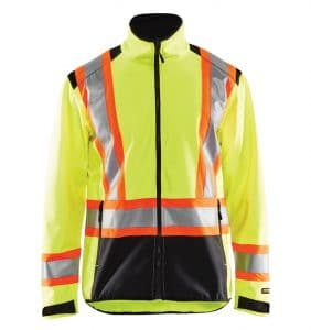 Hi-Vis Softshell jacket With your logo - Corporate Apparel - Promotional Products - Heat Transfer - Screen Printing - Safety Jacket - WTBL4975 Yellow front