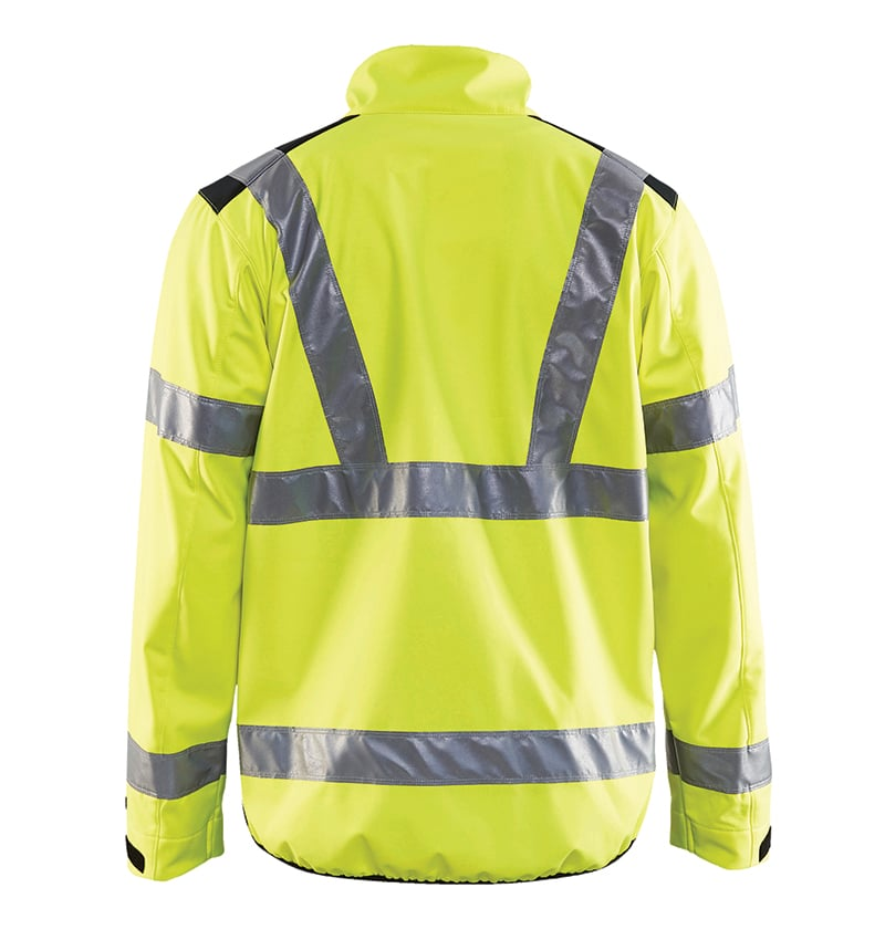 Hi-vis Softshell jacket with your logo - Corporate Apparel - Promotional items - Heat transfer - Screen Printing - Embroidery - Safety jacket - WTBL4977 Yellow Back