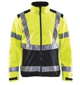 Hi-vis Softshell jacket with your logo - Corporate Apparel - Promotional items - Heat transfer - Screen Printing - Embroidery - Safety jacket - WTBL4977 Yellow front